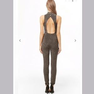 High neck stretch jumpsuit, never worn w/ tags